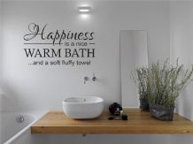 Bathroom Quote - Happiness is ..., Wall Art Sticker, Modern Decal Transfer